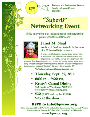 Business and Professional Women Southern Ocean County Networking Event, September 25, 2014 at Kristy's Casual Dining